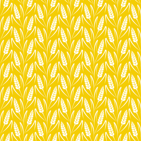 Vector naadloze patroon met silhouetten van tarwe oren. Volkoren, natuurlijke, biologische achtergrond voor bakkerij-pakket, broodproducten. Vector illustratie van de groeiende gebied rogge. Gerst, maïs textuur.