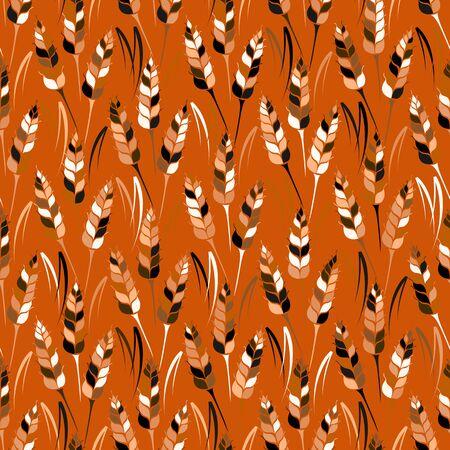 produits c�r�aliers: Vector seamless pattern color� avec des silhouettes de bl�. grains entiers, naturel, fond organique pour le paquet de boulangerie, produits de boulangerie. Vector illustration du champ de la culture du seigle. L'orge, la texture du ma�s.
