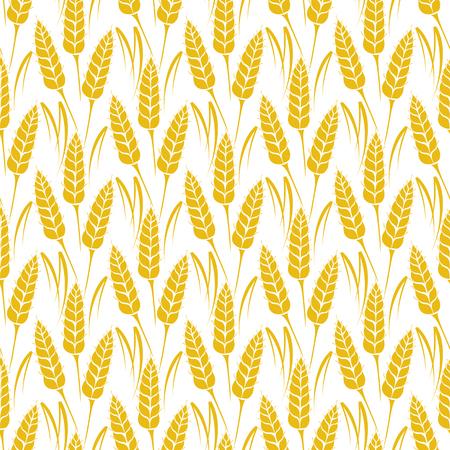barley: Modelo inconsútil del vector con las siluetas de los oídos del trigo. De grano entero, fondo natural, orgánico para el paquete de panadería, productos de pan. Ilustración del vector del creciente campo de centeno. Cebada, textura maíz. Vectores