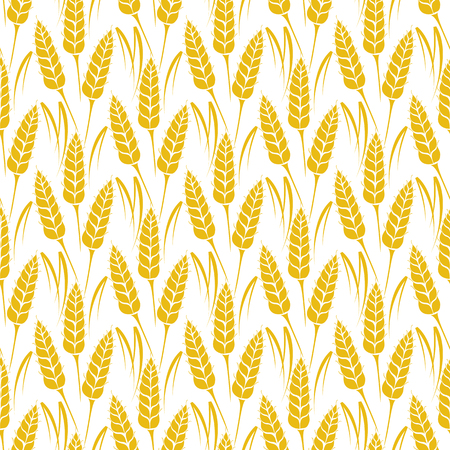 Vector seamless pattern with silhouettes of wheat ears. Whole grain, natural, organic background for bakery package, bread products. Vector illustration of growing rye field. Barley, corn texture. Ilustração