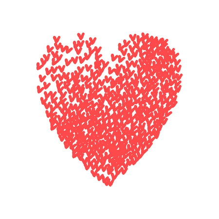 Illustration of big heart shape filled with colorful small hand drawn hearts. Concept of love, care, union, charity, donation, global community, help. Vector print background for Valentines Day.