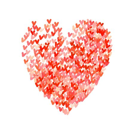 community help: Illustration of big heart shape filled with colorful small hand drawn hearts. Concept of love, care, union, charity, donation, global community, help. Vector print background for Valentines Day.