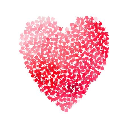 Vector illustration of a heart shape filled with red hand prints. Multiple open palms make a concept of vote, election, human rights, union, charity, donation, cooperation, global community, help