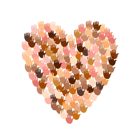 Vector illustration of a heart shape filled with colorful hand prints. Open palms make concept of vote, election, human rights, union, charity, donation, global community, help, international support