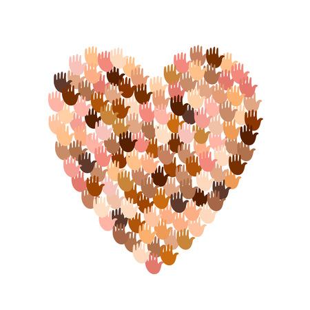 Vector illustratie van een hartvorm gevuld met kleurrijke handafdrukken. Open palmen maken concept van de stem, verkiezing, mensenrechten, unie, liefdadigheid, schenking, wereldwijde gemeenschap, hulp, internationale steun