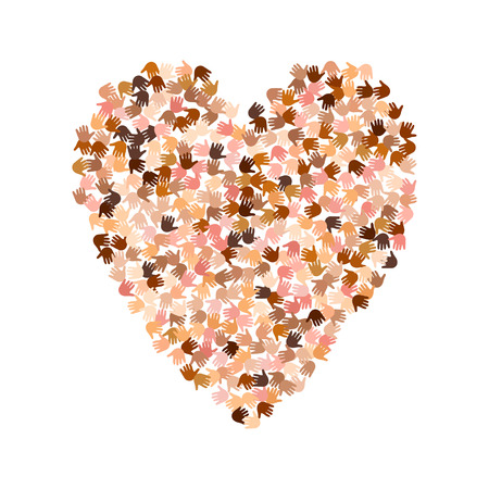 Vector illustration of a heart shape filled with many races small hand prints. Open palms make a concept of vote, election, human rights, union, charity, donation, global community, help, care, love