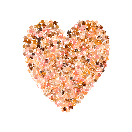 human rights: Vector illustration of a heart shape filled with multinational hand prints. Open palms of many races make a concept of vote, election, human rights, union, charity, donation, global community, help