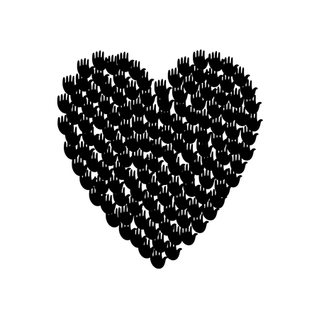 community help: Vector illustration of a heart shape filled with black hand prints. Multiple open palms make a concept of vote, election, human rights, union, charity, donation, cooperation, global community, help Illustration
