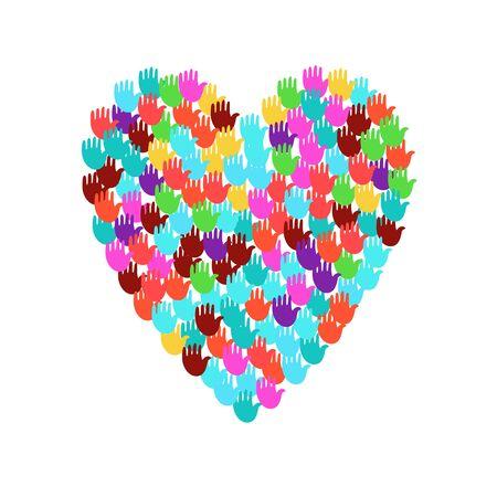 Vector illustratie van een hartvorm gevuld met kleurrijke handafdrukken. Meerdere open palmen maken een concept van stem, verkiezing, mensenrechten, unie, liefdadigheid, schenking, samenwerking, wereldwijde gemeenschap, te helpen Vector Illustratie