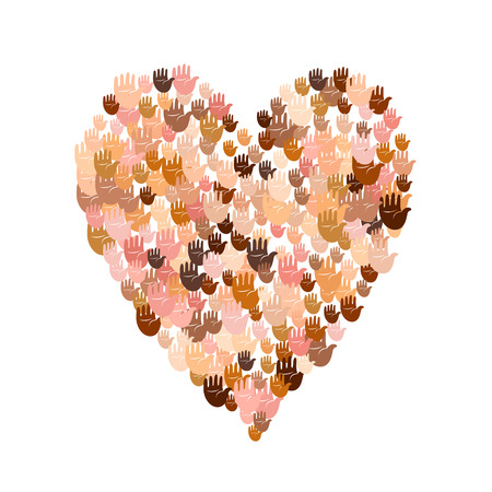 Vector illustration of a heart shape filled with multicultural hand prints. Multiple open palms make a concept of vote, human rights, union, charity, donation, cooperation, global community, help