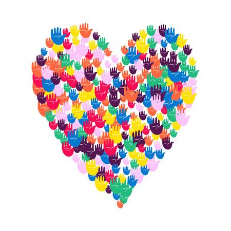 Vector illustratie van een hartvorm gevuld met kleurrijke handafdrukken. Meerdere open palmen maken een concept van stem, verkiezing, mensenrechten, unie, liefdadigheid, schenking, samenwerking, wereldwijde gemeenschap, te helpen