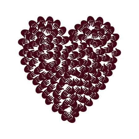 human rights: Vector illustration of a heart shape filled with hand prints to the center. Open palms make a concept of vote, election, human rights, union, charity, donation, cooperation, global community, help Illustration
