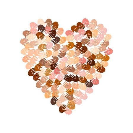 ? group: Ilustración vectorial de una forma de corazón lleno de impresiones de la mano de colores. las palmas abiertas de muchas razas hacen un concepto de voto, elección, los derechos humanos, unión, caridad, donación, la comunidad mundial, ayudan Vectores