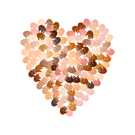Vector illustration of a heart shape filled with colorful hand prints. Open palms of many races make a concept of vote, election, human rights, union, charity, donation, global community, help