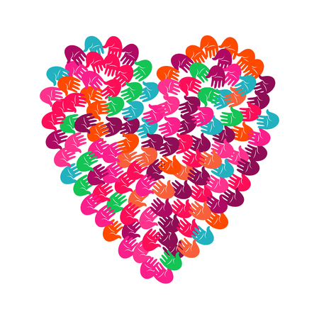 Vector illustration of a heart shape filled with colorful hand prints. Multiple open palms make a concept of vote, election, human rights, union, charity, donation, cooperation, global community, help