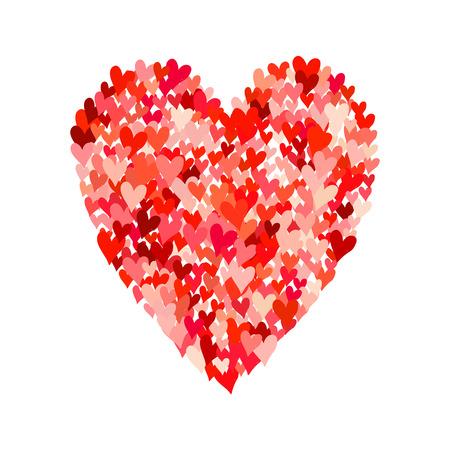 Illustratie van groot hart vorm gevuld met kleurrijke kleine hand getrokken harten. Concept van de liefde, zorg, unie, liefdadigheid, schenking, wereldwijde gemeenschap, help. Vector drukken achtergrond voor Valentijnsdag. Stock Illustratie