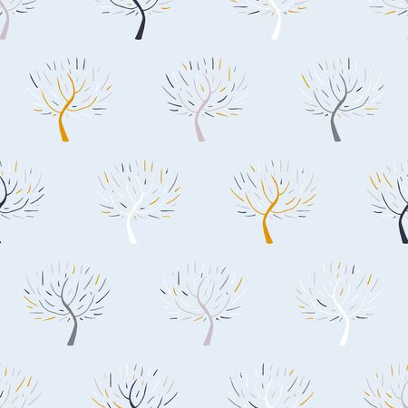 winter fashion: Simple elegant hand drawn pattern with three silhouettes in grey for fall winter fashion or Christmas wrapping paper. Chic natural retro style print with woods and bare branches for baby room decor Illustration
