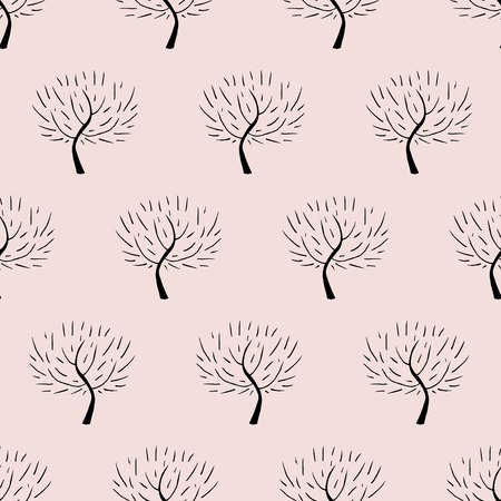 natural color: Simple elegant pattern with three silhouettes in organic beige color for fall winter fashion or gift wrapping paper. Chic, natural retro style print with woods and bare branches for baby room decor Illustration