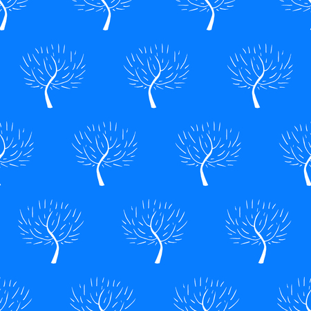 natural color: Simple elegant pattern with three silhouettes in blue color for fall winter fashion or Christmas wrapping paper. Chic, natural retro style print with woods and bare branches for baby boy room decor Illustration