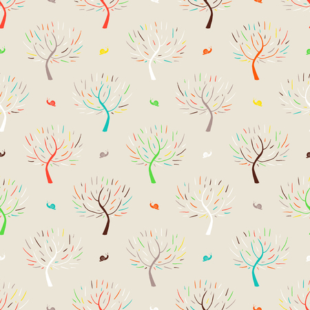 fall winter: Simple elegant hand drawn pattern with three silhouettes and snails in multiple colors for fall winter fashion or digital scrapbook paper. Chic, natural retro style print with woods and bare branches