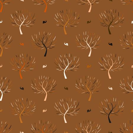 fall winter: Simple elegant hand drawn pattern with three silhouettes and snails in organic brown colors for fall winter fashion or gift wrapping paper. Chic natural retro style print with woods and bare branches