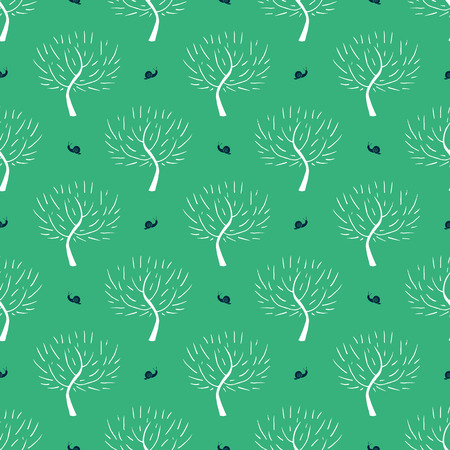 fall winter: Simple elegant pattern with three silhouettes and snails in black, white, green colors for fall winter fashion or gift wrapping paper. Chic, natural retro style print with woods and bare branches