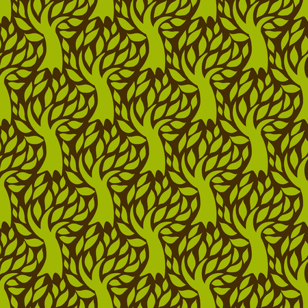fall winter: Vector seamless pattern with trees silhouettes and leafs in brown and green colors for fall winter fashion or Christmas wrapping paper. Natural print with woods. Retro style wallpaper. Floral texture. Illustration