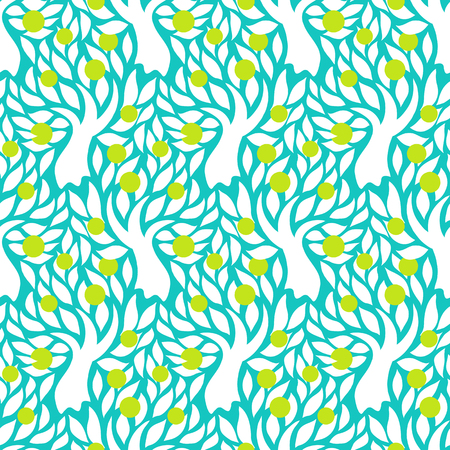 apples and oranges: Vector seamless pattern with trees silhouettes, leafs and green apples in blue on white color for spring summer fashion or gift wrap. Chic, elegant, natural print with garden. Retro style wallpaper Illustration