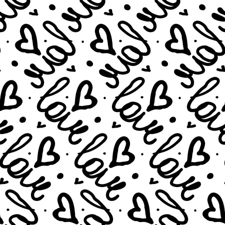 black backgrounds: Vector seamless pattern with hand written words love and hand drawn hearts. Simple elegant, romantic background for Valentine day, Mothers day and other family events.  Bold print in black and white