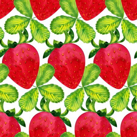 farmers market: Watercolor pattern with wild strawberry ornament, hand drawn in 1950s or 1960s style. Concept for farmers market, organic food, natural product design, soap package, herbal tea, antioxidants etc. Stock Photo