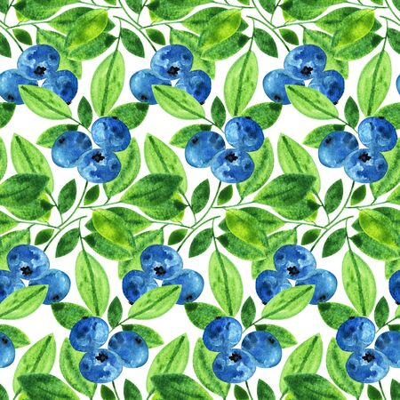 farmers market: Watercolor pattern with wild blueberry ornament, hand drawn in 1950s or 1960s style. Concept for farmers market, organic food, natural product design, soap package, herbal tea, antioxidants etc.