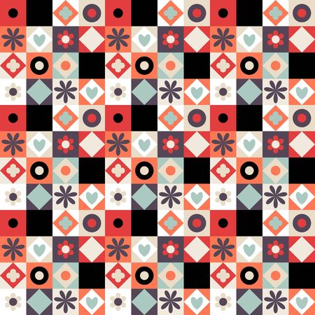 grid pattern: Vector colorful geometric pattern with small shapes, circles, dots, triangles, hearts, flowers. Seamless background in quilting and patchwork style. Ethnic texture with orange black white color blocks