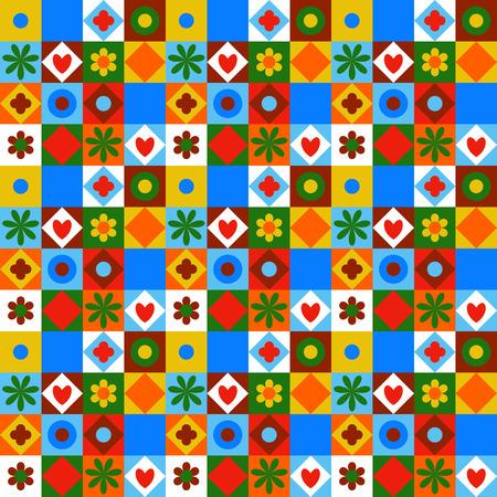 petites fleurs: motif géométrique vecteur coloré avec de petites formes, des cercles, des points, des triangles, des coeurs, des fleurs. Seamless dans le style quilting et patchwork. texture ethnique avec des blocs de couleur bleu blanc rouge.