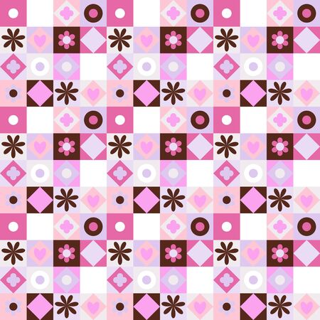 pink brown: Vector colorful geometric pattern with small shapes, circles, dots, triangles, hearts, flowers. Seamless background in quilting and patchwork style. Ethnic texture with pink brown color blocks.