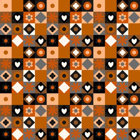 petites fleurs: Vecteur coloré motif géométrique avec de petites formes, des cercles, des points, des triangles, des coeurs, des fleurs. Seamless dans quilting et patchwork style. texture ethnique avec brun orangé blocs de couleur gris. Illustration