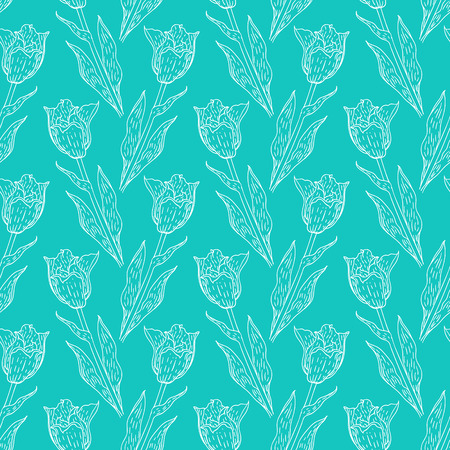 spring fashion: Seamless pattern with tulips branches. Pencil sketch collection vector illustration. Hand drawn floral print for summer spring fashion. Easter background with flowers, vines and leaves in blue