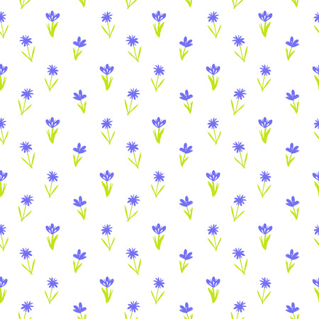 Ditsy spring floral pattern with small hand drawn violet flowers on pure white background. Seamless vector vintage texture. Colorful artistic grunge print for spring summer fashion. Illustration