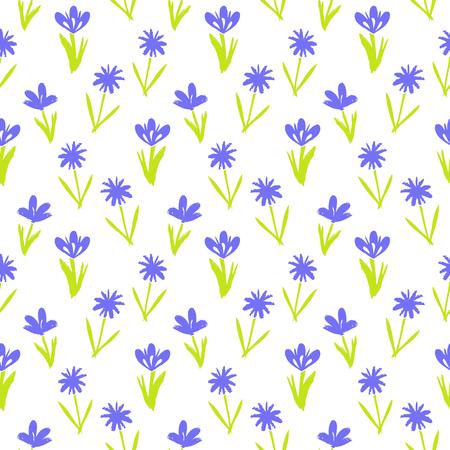 petites fleurs: Ditsy motif floral de printemps avec de petites fleurs violettes dessinés à la main sur fond blanc. Seamless texture vintage. Colorful imprimé grunge artistique pour la mode printemps été ou une invitation de mariage Illustration