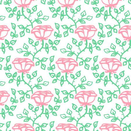 Vintage classic floral pattern with climbing pink tea roses on white background. Grunge retro print with flowers and leafs for summer spring fashion Seamless hand drawn graphic for soap package design