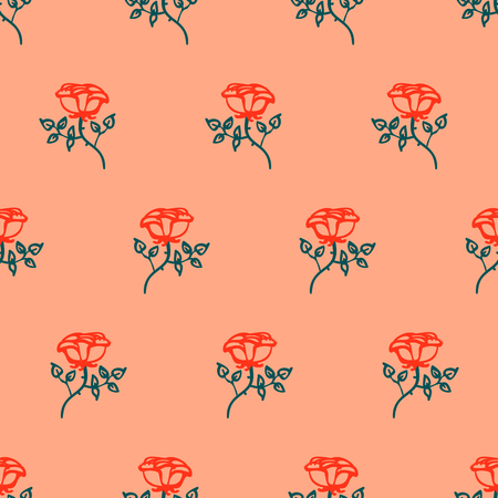 Vintage floral pattern with small red roses on pastel pink background. Grunge ditsy retro print with flowers and leaves for summer spring fashion. Seamless hand drawn graphic for soap package design
