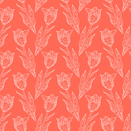 spring fashion: Seamless pattern with tulips branches. Pencil sketch collection vector illustration. Hand drawn floral print for summer spring fashion. Easter background with flowers, vines and leaves in coral pink