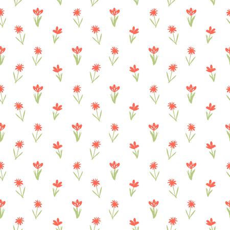 petites fleurs: Ditsy motif floral de printemps avec petite main dessinée fleurs rouges sur fond blanc. Seamless texture vintage. Colorful imprimé grunge artistique pour la mode printemps été ou une invitation de mariage