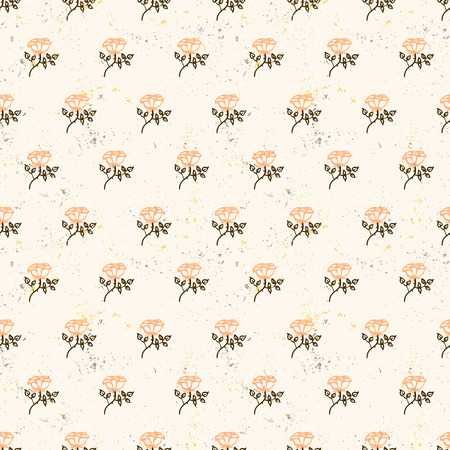 Vintage floral pattern with small pink tea roses on pastel beige background. Grunge retro print with flowers and leaves for summer spring fashion. Seamless hand drawn graphic for soap package design