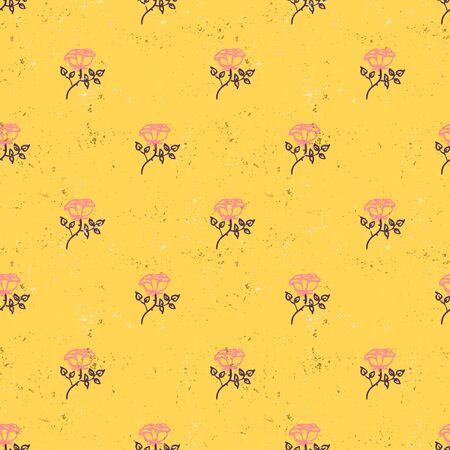 Vintage floral pattern with small pink roses on mustard background. Grunge retro print with flowers and leaves for summer spring fashion. Seamless hand drawn background for soap package graphic design