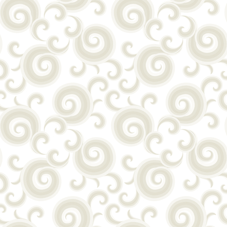 paper graphic: Vector seamless pattern with gold curls and swirls. Nautical texture with waves. Illustration of sky with abstract clouds. Drawn Japanese water graphic. Frost elegant background. Christmas white paper