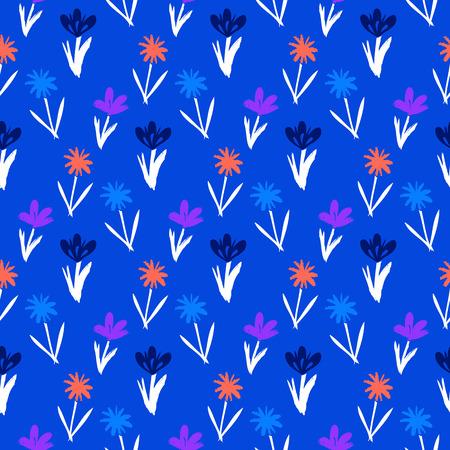 petites fleurs: Ditsy motif floral de printemps avec des fleurs petites dessinés à la main sur fond bleu. Seamless texture vintage. Colorful imprimé grunge artistique pour la mode printemps été ou une invitation de mariage