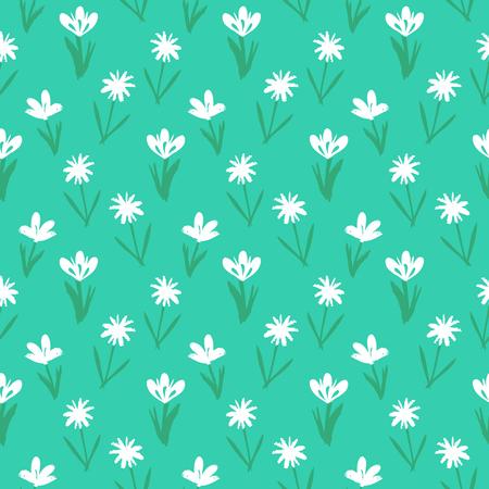 petites fleurs: Ditsy motif floral de printemps avec petite main dessiné des fleurs blanches sur fond bleu vif. Seamless texture vintage. Colorful imprimé grunge artistique pour la mode printemps été.