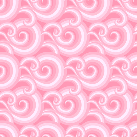 Vector seamless pattern with elegant curls and swirls in bright tropical coral pink Luxury texture with waves. Asian ornament with sky and abstract clouds Drawn Japanese water graphic. Christmas paper
