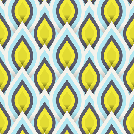 turkish: Vector geometric pattern with abstract leaf ornament in gold blue colors. Bold geometry print in art deco style with drops. Seamless background with ethnic, Arabic, Indian, Turkish, ottoman motifs