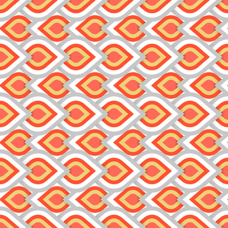 Vector geometric pattern with abstract leaf ornament in red gold grey colors. Bold geometry print in art deco style with drops. Seamless background with ethnic, Arabic, Indian, Turkish, ottoman motifs Vectores